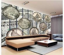 3D wallpaper custom murai non-woven wallpaper Retro wall of setting of silver COINS home decoration(China)
