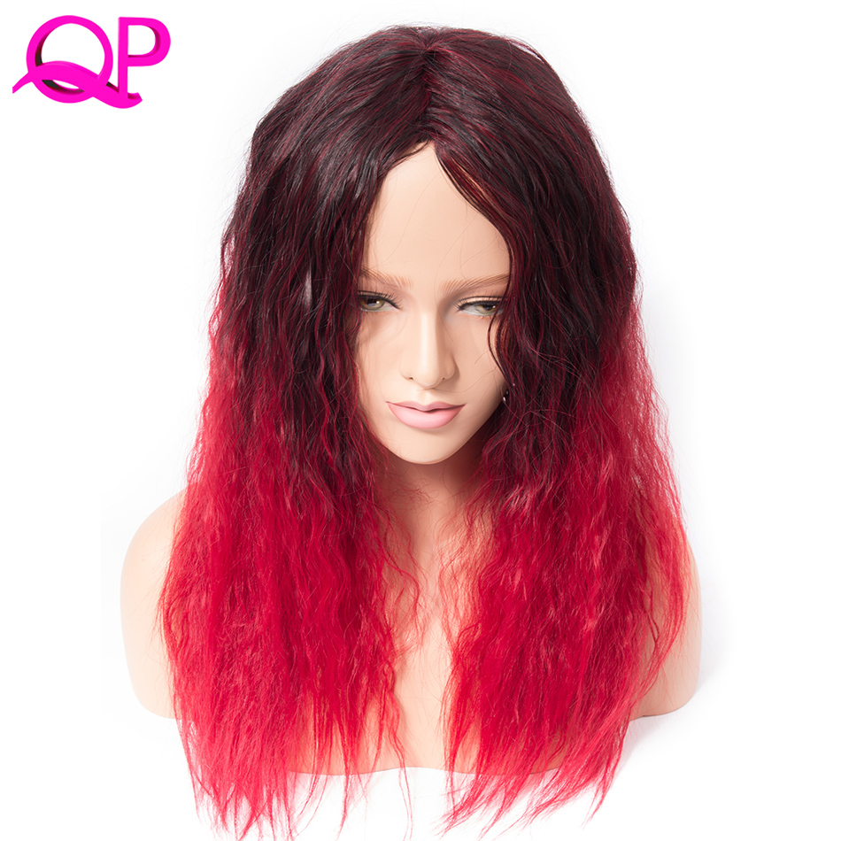 Qp Hair Afro Kinky Straight  High Temperature Fiber African American Medium Length Wigs Blacke Ombre Red Cospaly synthetic Wig