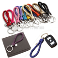11 Colors Strap Hand Woven Leather Branded Keychain For Women Cord Auto Car Keychain With Metal Tag Creative Gifts