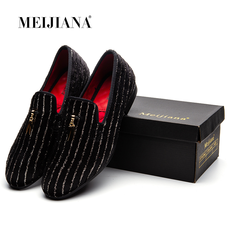 MEIJIANA Striped Loafers Men Flats Crystal Slippers Black/Red Suede Slip-on Strass Dress Shoes Wedding Party contrast suede pocket curved hem striped tee dress