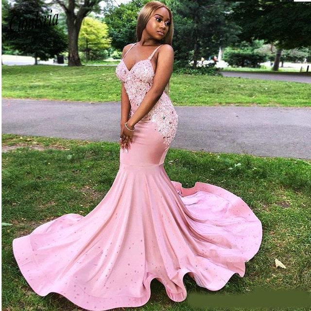 6da6750a1 ... Longo vestido Festa Para Noite Com Contas Apliques. Sexy Black Girls  Pink Prom Dresses Mermaid Spaghetti Straps Backless Long For Party Evening  Gowns ...