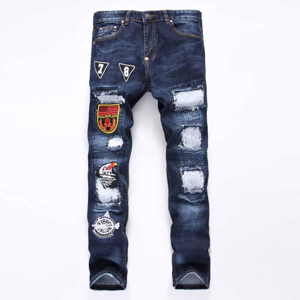 Biker jeans 2017 New Designer Slim Jeans Men High Quality hip hop Ripped Jeans pants Plus size Straight Hole Denim trousers plus size ripped straight leg biker jeans