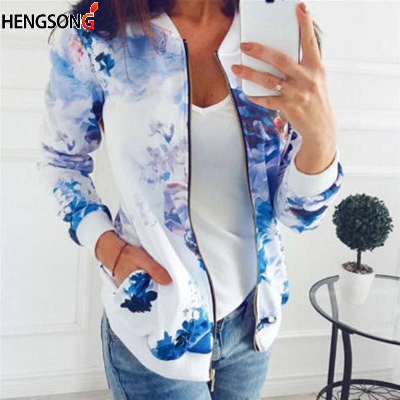 Women Autumn   Jacket     Basic   Coat Flower Floral Print Baseball   Jacket   Bomber Long Sleeve Top Zipper Casual Outwear Pocket Plus Size