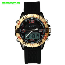2019 new hot fashion trend double exhibition mens waterproof outdoor sports watch multi-function electronic