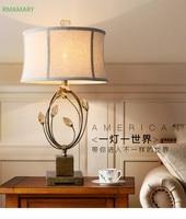 مصباح طاولة كريستالي كلاسيكي مصباح جانبي لغرفة النوم من الحديد المطاوع في البلاد الأمريكية مصباح طاولة LED للدراسة من النسيج الشمالي-في مصابيح مكتبية من مصابيح وإضاءات على