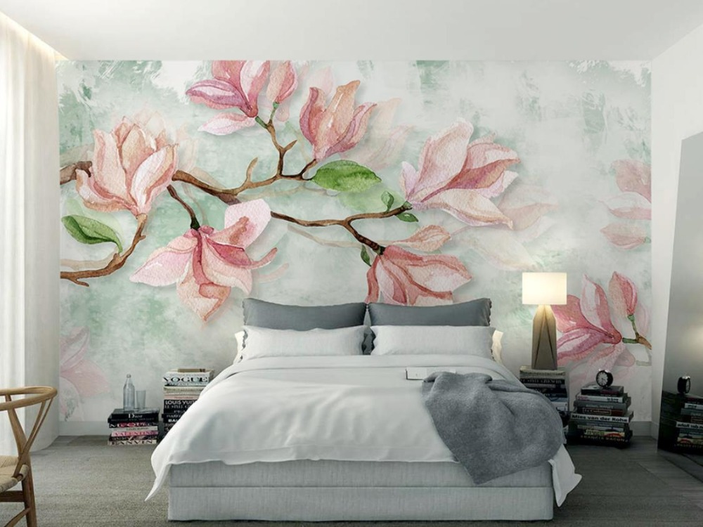 Simple magnolia 3d wallpaper murals watercolor flowers 3d for Mural 3d simple