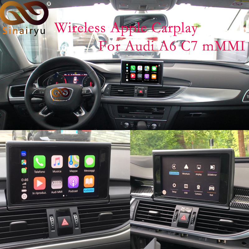 Aftermarket Adapter Multimedia A6 C7 MMI Small Screen OEM Wireless Apple CarPlay Solution Retrofit with Reverse