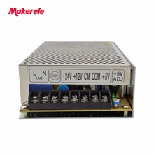 customized triple dc output 5V 12V 24V T-100E 100w three outputs switching power supply 2a 2a 3a with CE