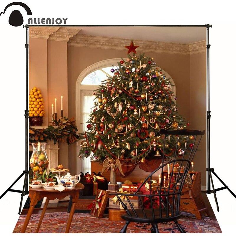 10x20ft (3x6 M) Foto Achtergrond Kerst De Kerstboom Tafel Stoel Achtergronden Zj