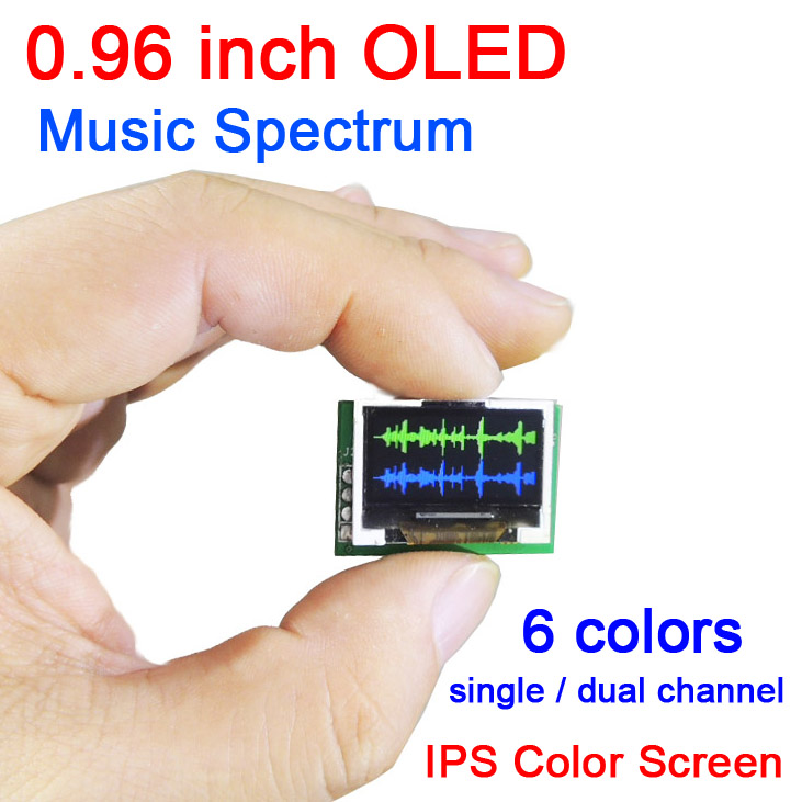 DYKB 0 96 inch color OLED Music Spectrum Display Analyzer W CLOCK MP3 Amplifier Audio Level