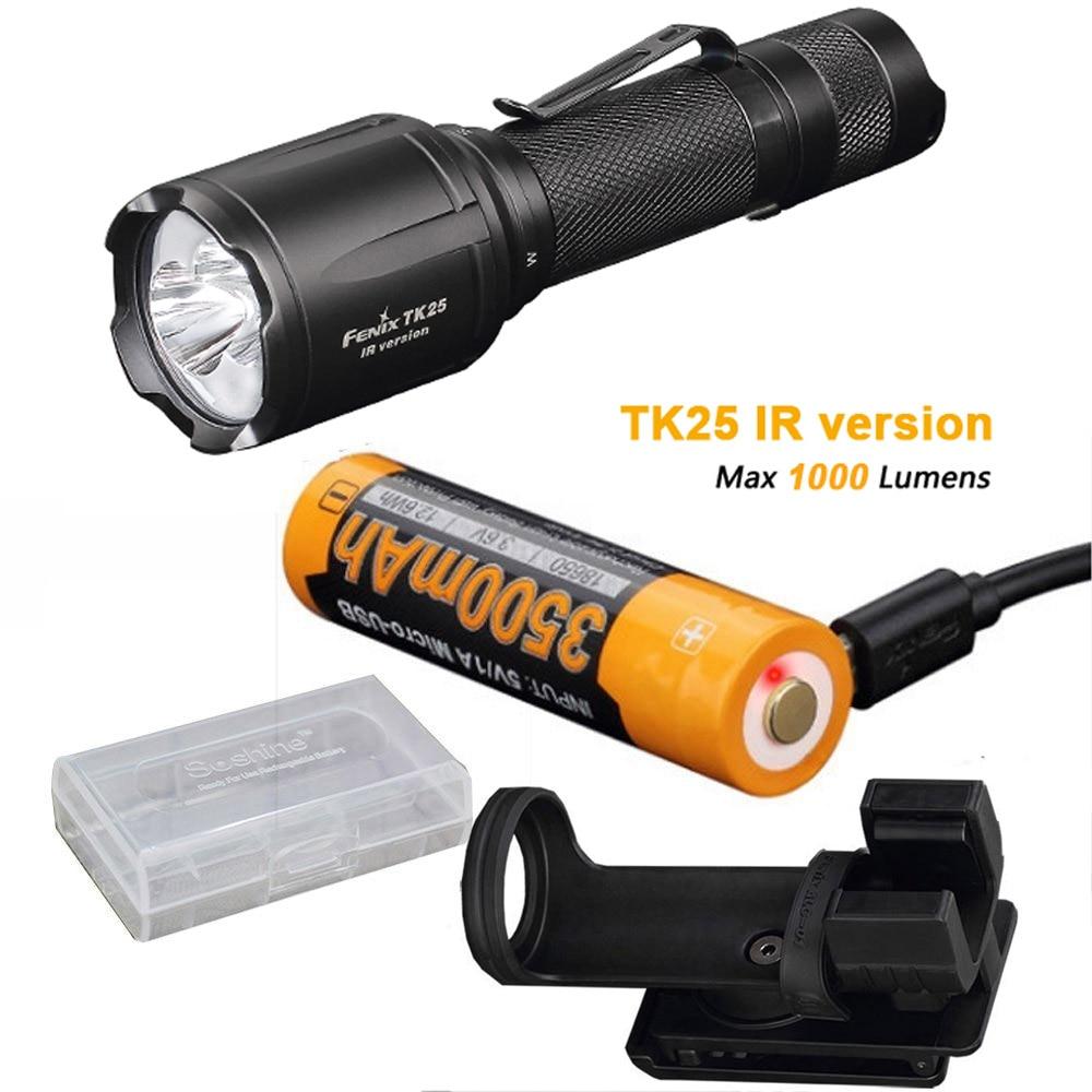 Fenix TK25 IR (TK25IR) 1000 Lumen LED 3000mW 850nm Infrared Tactical Flashlight with ARB-L18-3500U Battery ,Charge Cable