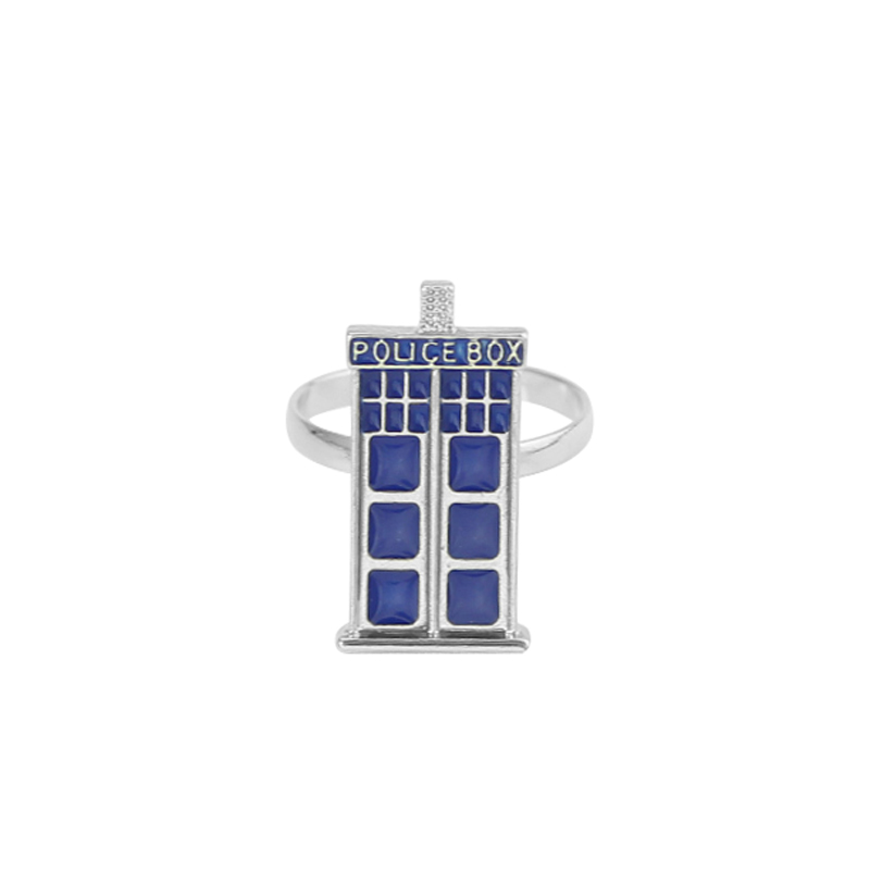 Blue Police Box Ring Inspired by Doctor Who and the TARDIS Jewelry Engagement Wedding Ring