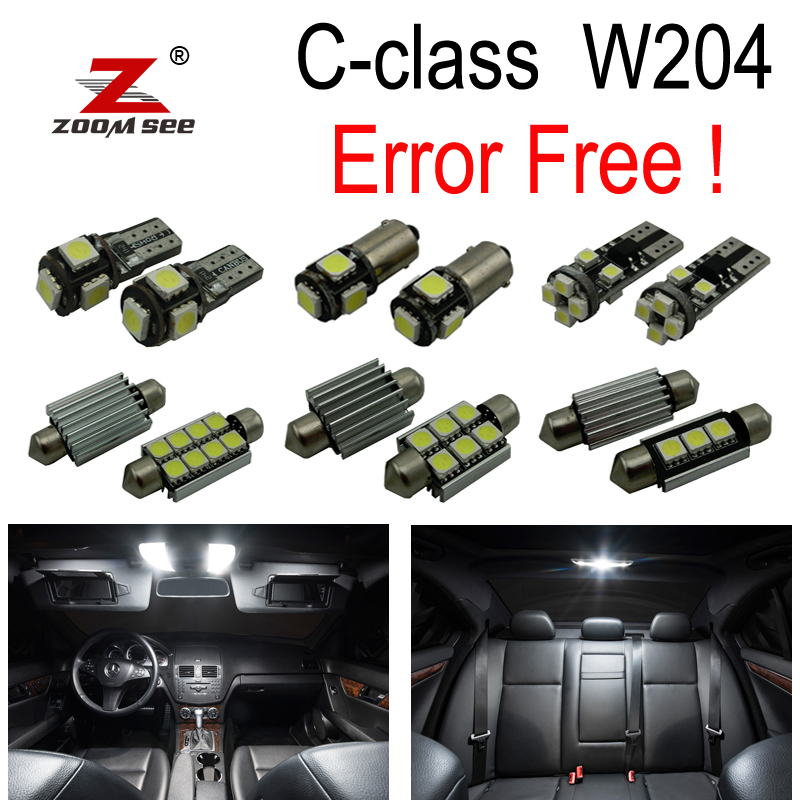 ФОТО 17pc X Canbus Error free LED Lamp Interior Light Kit Package For Mercedes For Mercedes-Benz C class W204 C250 C300 C350 (2008+)