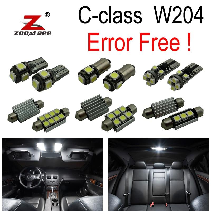 17pcs LED ნათურის ინტერიერის გუმბათის მსუბუქი ნაკრები Mercedes Benz C კლასის W204 Sedan C180 C200 C220 C250 C300 C350 (08-14)