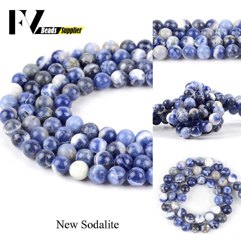 Natural Stones Minerals New Blue Sodalite Round Loose Beads For Jewelry Making 4 6 8 10 12mm Gem Ball Beads Accessories 15inch