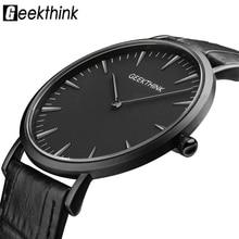 GEEKTHINK de Primeras Marcas de Lujo de Cuarzo reloj de los hombres de Negocios Negro Ocasional Japón cuarzo reloj de cuero genuino ultra delgado reloj masculino nueva