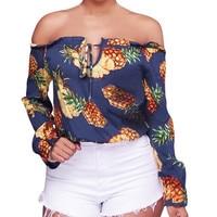 Ladies Sexy Fashion Long Sleeve T Shirt Pineapple Printing T Shirts Striped Pineapple Print Tshirt Women