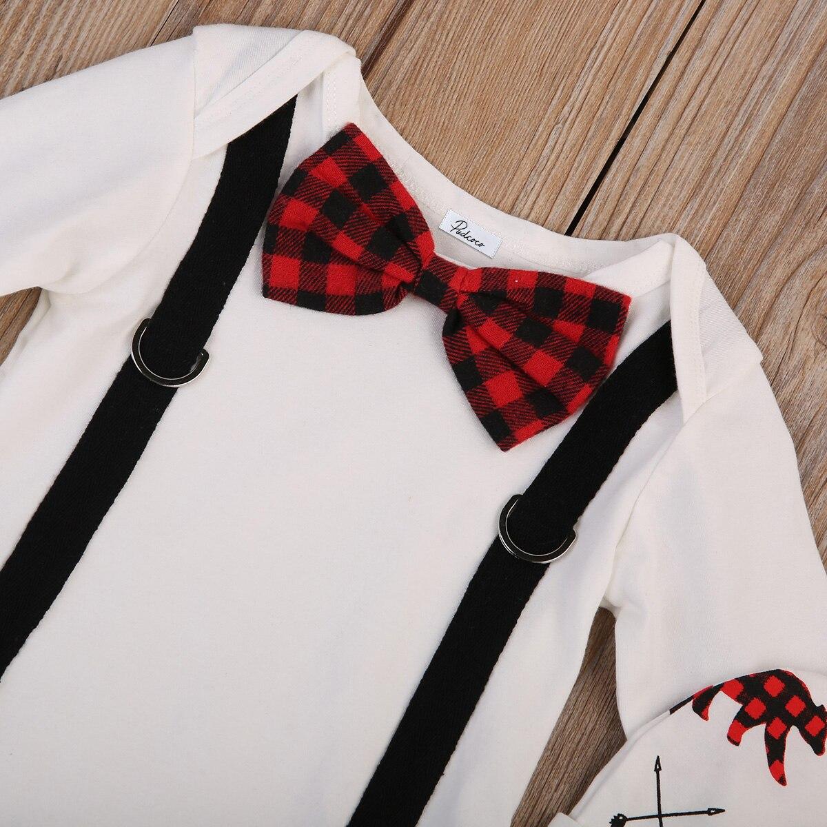 Newborn Baby Boys Gentleman Cotton Soft Long Sleeve Romper Bodysuit Deer Pants Outfits Clothes 0-24M