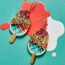 Jujia Ice Cream Anting-Anting untuk Wanita Gadis Pesta Anting-Anting Drop 2019 Musim Panas In Trendi Drop Anting-Anting Pernyataan Perhiasan Pernikahan(China)