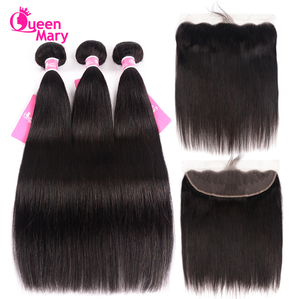 Closure Bundles Human-Hair Lace-Frontal Brazilian Queen Mary Straight