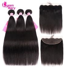 Csipke elülső záró csomagok brazil egyenes emberi haj szövés 3 csomó az elülső záró Queen Mary Non Remy Hair