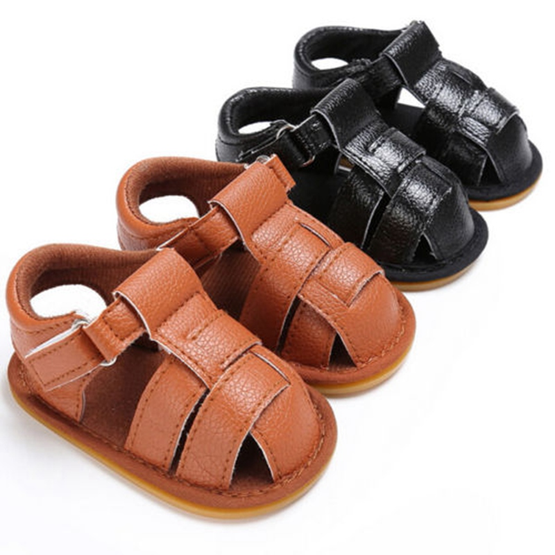 2018 Toddler Newborn Baby Boys Summer Leather Sandals Soft Crib Sandals hoes Size 0-18 Months