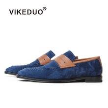 VIKEDUO Mocasines de hombre elegantes Zapatos de boda hechos a mano de cuero genuino