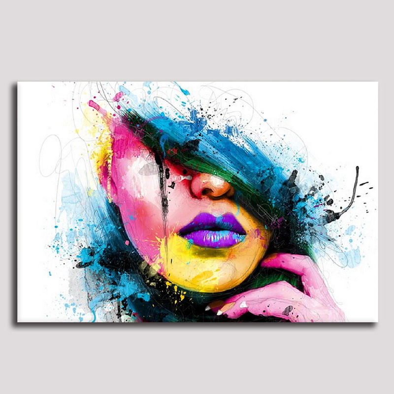 Large Canvas Prints Wall Art Colorful Fashion Woman Face -6858