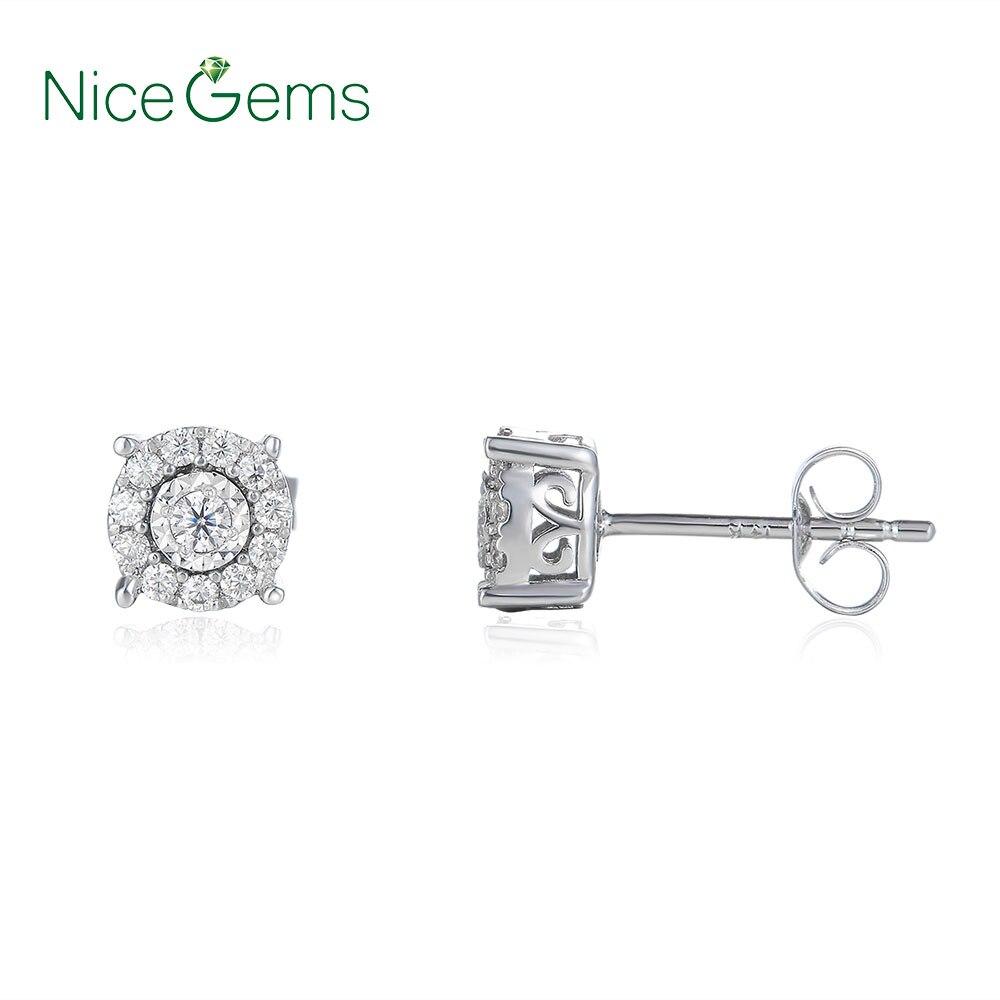 يدويا البلاتين مطلي الفضة FG اللون جولة مختبر مكون المويسانتي الماس أقراط 1/3 ct. Tw VVS1 ل BirthdayGift-في الأقراط من الإكسسوارات والجواهر على  مجموعة 1