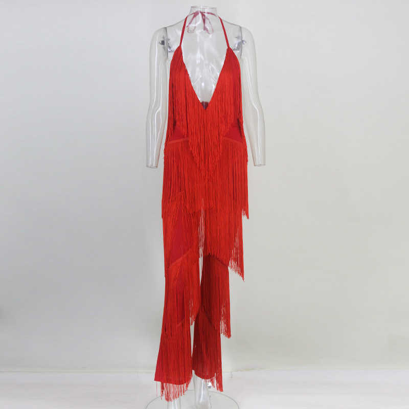 8726ad6ba7e6 ... NATTEMAID V Neck Backless Halter 2018 Summer Jumpsuit Bandage Casual  Sexy Club Tassel Rompers Womens Jumpsuit ...