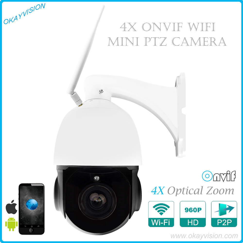 130W WIFI p2p outdoor indoor Pan/Tilt 4X optical Zoom ip ptz camera 1.3MP ONVIF WIFI PTZ Camera Built-in TF card card slot meziere wp101b sbc billet elec w p