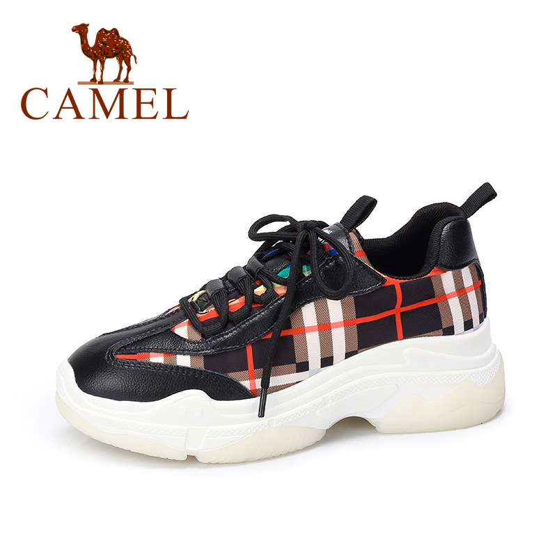 CAMEL New Spring Collection Ulzzang Sneakers Women Fashion Casual Shoes For Ladies Plaid High Platform Shake