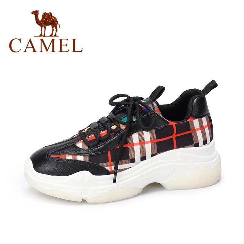 Nueva colección de Primavera de CAMEL Ulzzang zapatillas de moda para mujer zapatos casuales para damas de tela escocesa zapatos de plataforma alta-in Zapatos vulcanizados de mujer from zapatos on AliExpress - 11.11_Double 11_Singles' Day 1