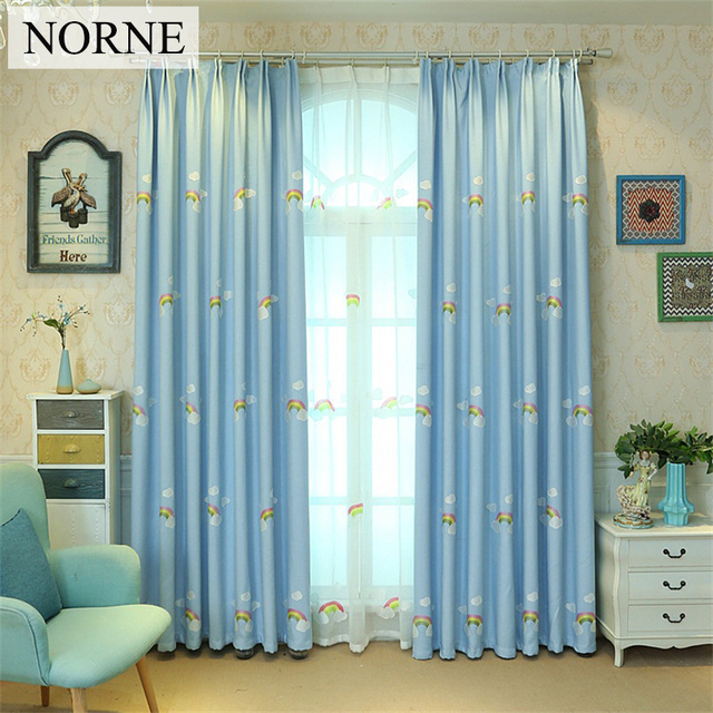 NORNE Modern Embroidered Rainbow Window Treatment Black Out Curtains Drapes  For Bedroom Living Room Kitchen Door
