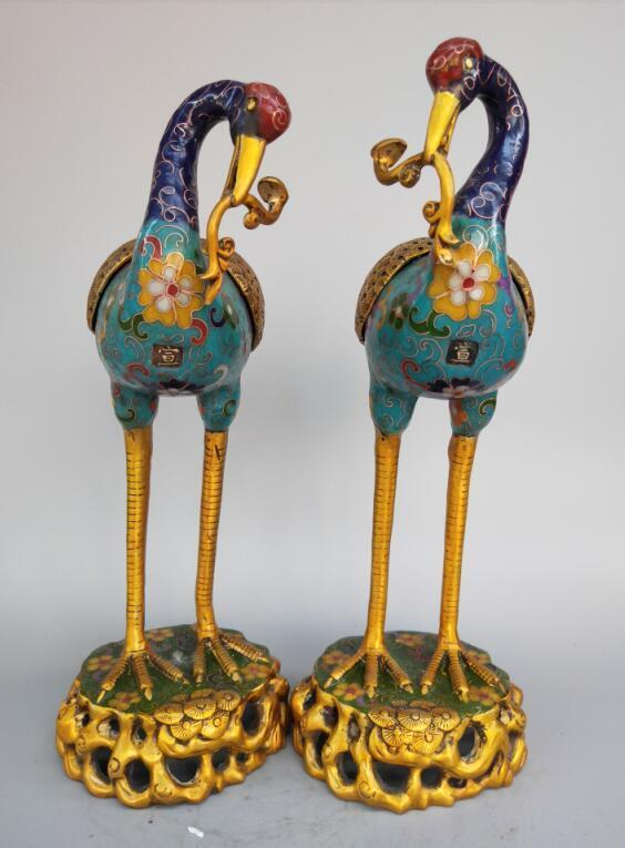 Chinese pure brass cloisonne red-crowned crane incense burner A pairChinese pure brass cloisonne red-crowned crane incense burner A pair