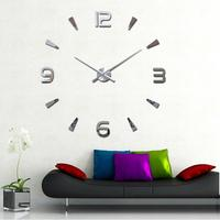 Fashion Lovely 3D DIY Large Wall Clock Mirror Surface Sticker Home Office Decor