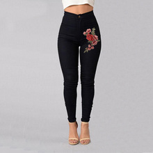 Women Stretch High Waist Skinny Embroidery Jeans Without Ripped Woman Floral Denim Pants Trousers For Women Jeans Pencil Pants