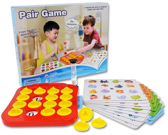 Los niños de memoria juego juegos pares juego juguetes educativos del bebé de la formación del cerebro Montessori interactivo Escritorio de juegos de mesa para juguetes