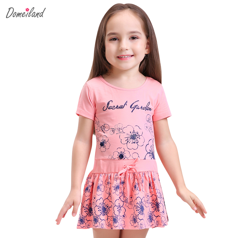 2017 Fashion Summer Brand domeiland Children Clothes cute girl cotton pink Floral Tutu Princess cotton dress Kid Party clothing