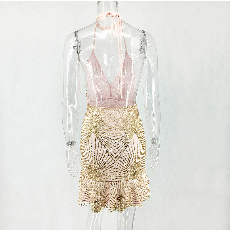 4b0dde1e76 US $19.08 40% OFF Colysmo Gold Sequin Dress Halter Backless Women Party  Dress Mini Mermaid Sexy Summer Dress Bodycon Club Dresses Ruffles  Vestido-in ...