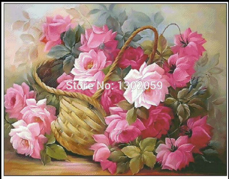 Home & Garden Knowledgeable Available Pretty Rose Flower In Basket Needlework Embroidery Package Cross Stitch Kit Factory Sale 18ct/16ct/14ct/11ct/9ct