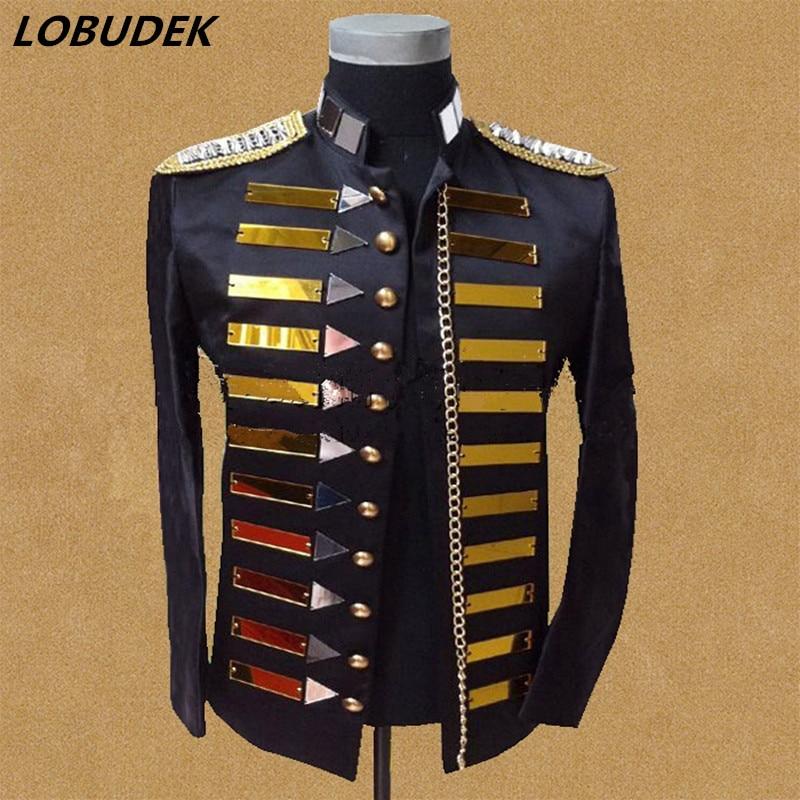 męska czarna lustrzana kurtka marynarka kurtka męski kostium DJ - Odzież męska