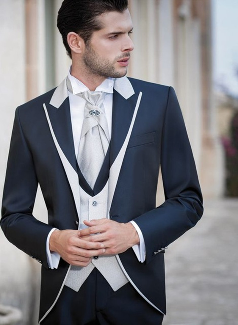 Navy Blue With White 3 Pieces Mens Suit Shawl Lapel Costume Homme Groomsmen Best Wedding Suits For Men Groom Tuxedos Blazer