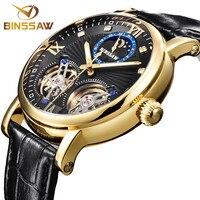 BINSSAW Мужские автоматические механические сталь Tourbillon Элитный бренд часы модные бизнес кожа спортивные Relogio Masculino