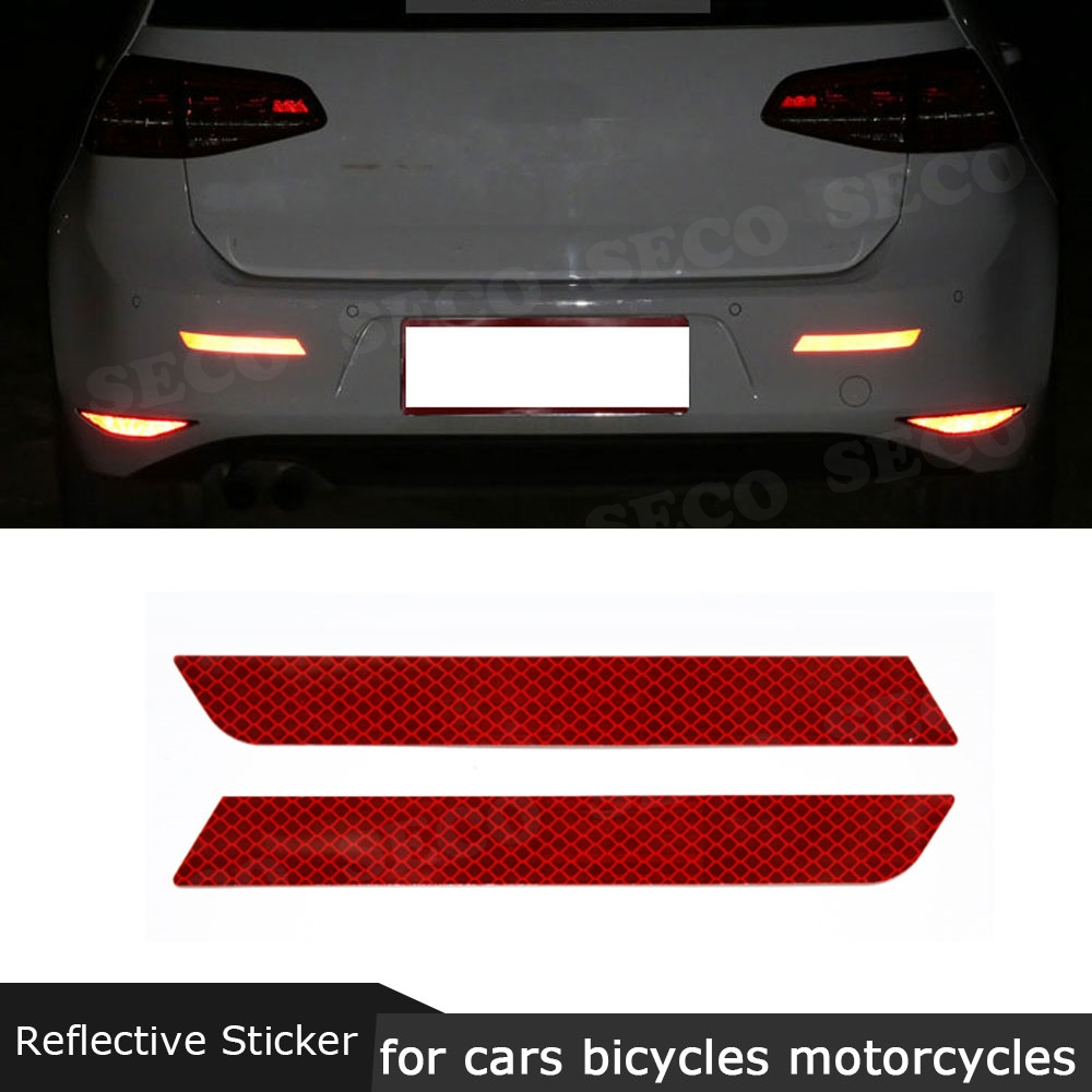 2pcs Car Reflective Sticker Decal Warning Tape Rear Tail Light Bumper Strip UK
