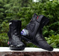 2015 Botas Hombre PU leather Motorcycle Boots Pro-biker Speed Bikers Moto Racing Motocross Leather Shoes Black/red/white