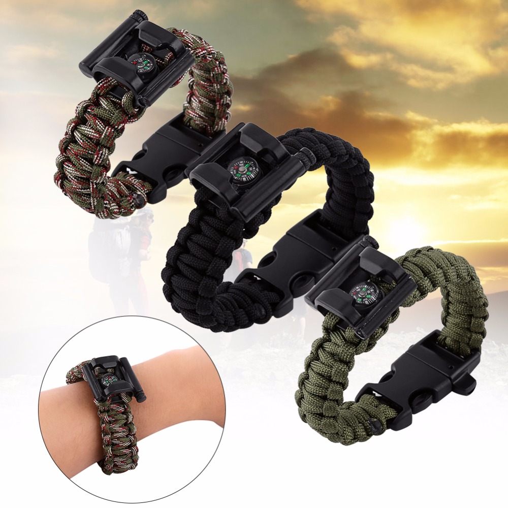 Paracord Survival Rope Kit For Supervivencia Paracord Buckles Bracelet  Leggings Umbrella Corda Whistle Compass Bottle Opener