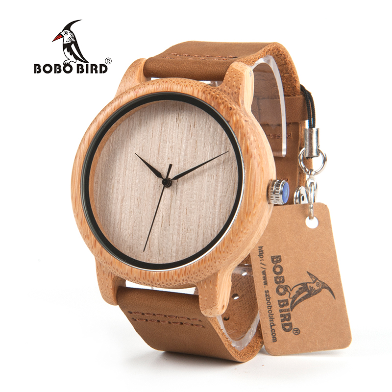 BOBO BIRD L-A19 Women Bamboo Wooden Watch for Men Real Leather Strap Quartz Watch for Woman in Gift Box Accept OEM Dropshipping bobo bird luxury bamboo wood men watch with engrave flower bamboo band quartz casual women watch full wooden watch in gift box