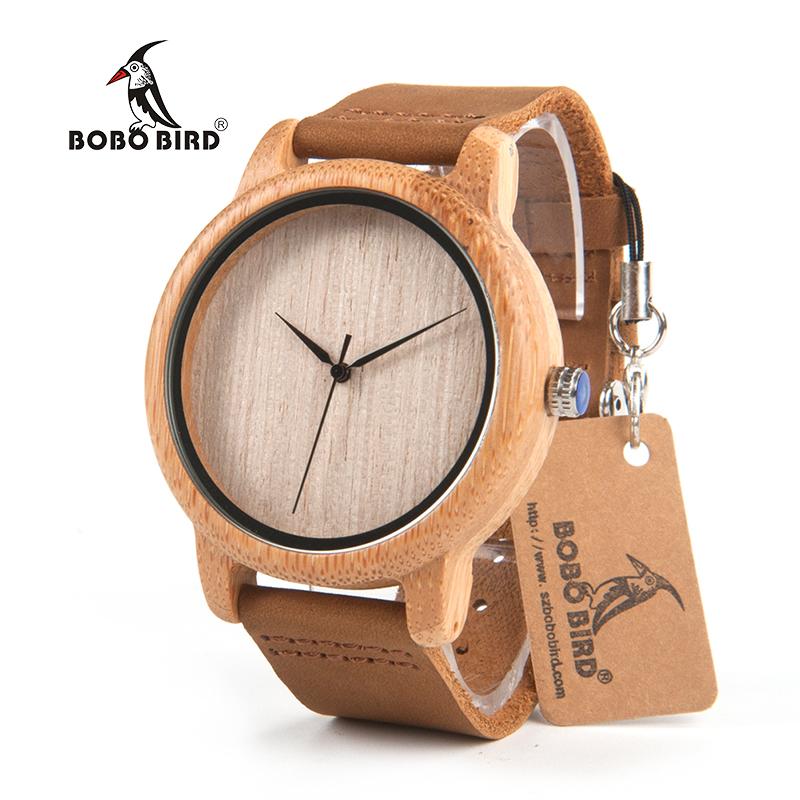 Prix pour Bobo bird a19 femmes bambou en bois montres pour hommes en cuir véritable bracelet À Quartz Montre pour Femme en Boîte-Cadeau Acceptent OEM Dropshipping