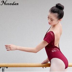Image 5 - Leotardo para danza de Ballet para mujer adulto, traje de malla de encaje con tutú, manga corta y larga, negro